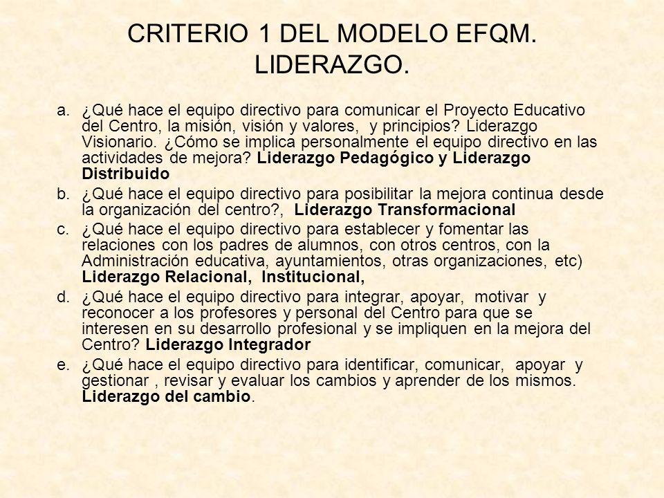 CRITERIO 1 DEL MODELO EFQM. LIDERAZGO.