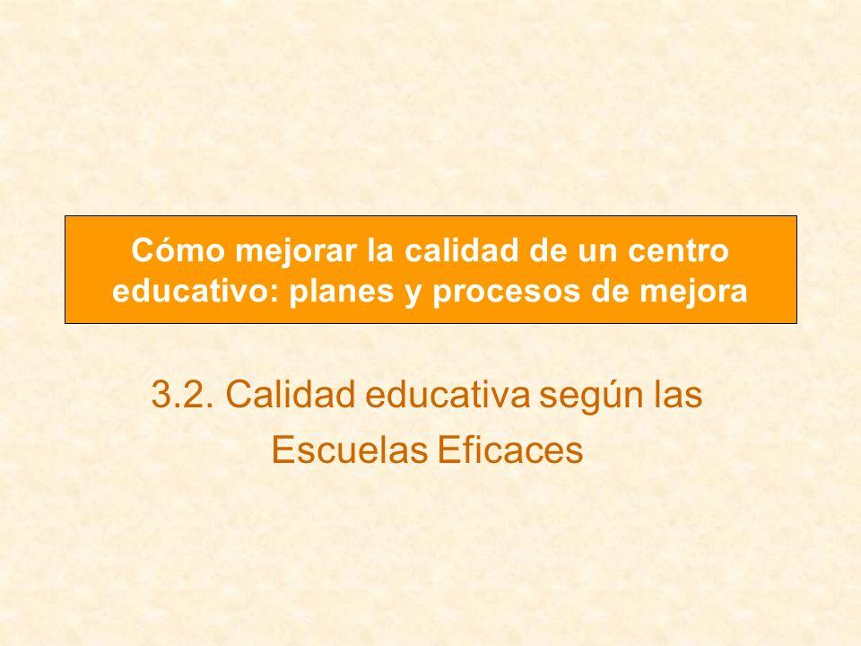 3.2. Calidad educativa según las Escuelas Eficaces