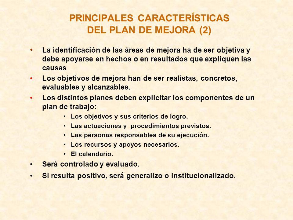 PRINCIPALES CARACTERÍSTICAS DEL PLAN DE MEJORA (2)