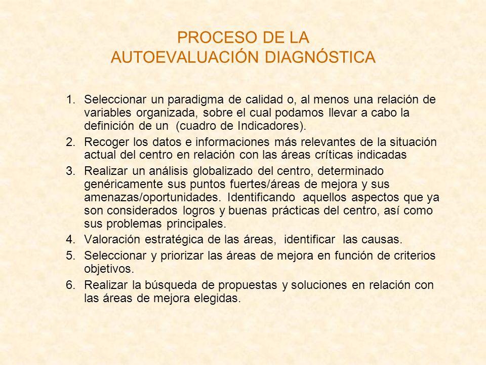 PROCESO DE LA AUTOEVALUACIÓN DIAGNÓSTICA