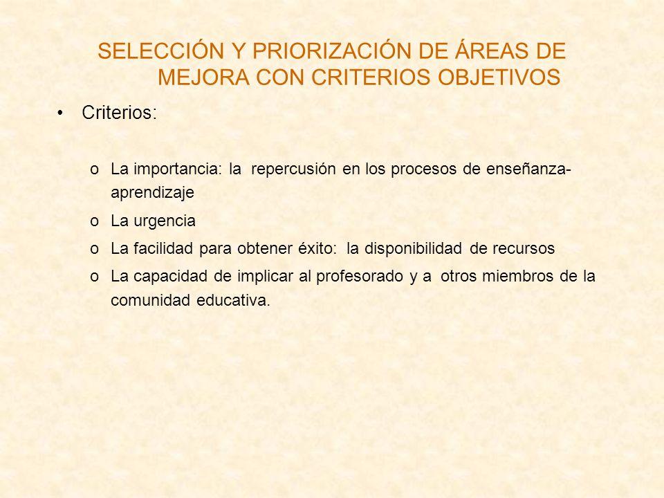 SELECCIÓN Y PRIORIZACIÓN DE ÁREAS DE MEJORA CON CRITERIOS OBJETIVOS