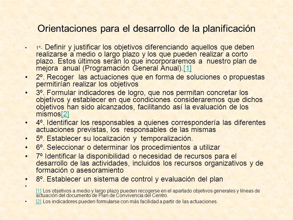 Orientaciones para el desarrollo de la planificación