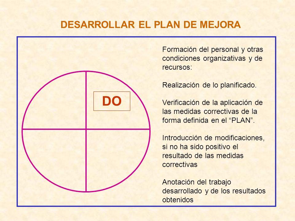 DESARROLLAR EL PLAN DE MEJORA