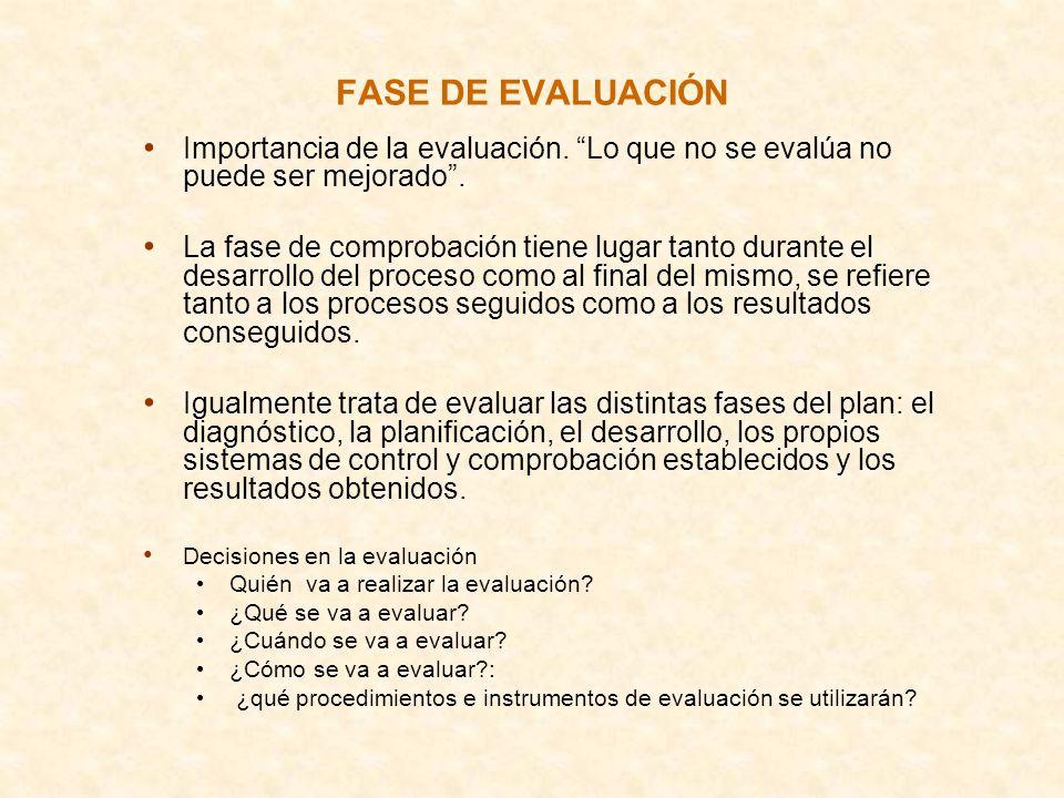 FASE DE EVALUACIÓN Importancia de la evaluación. Lo que no se evalúa no puede ser mejorado .
