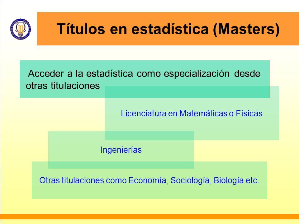 Títulos en estadística (Masters)