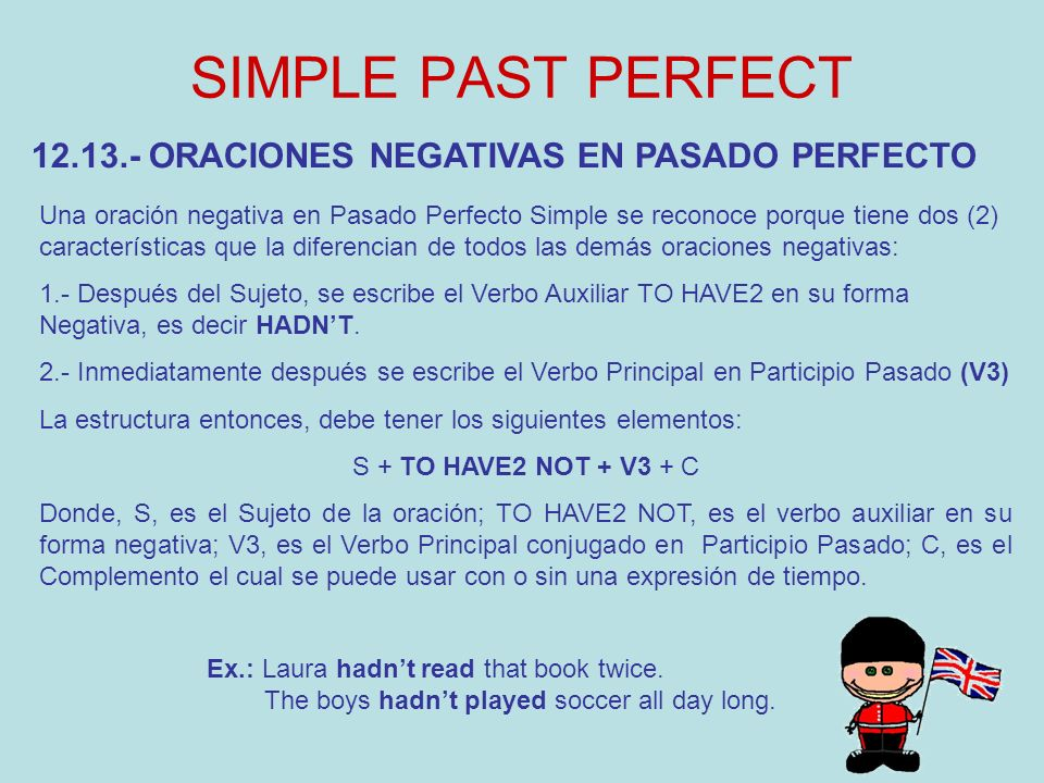 SIMPLE PAST PERFECT 12.13.- ORACIONES NEGATIVAS EN PASADO PERFECTO