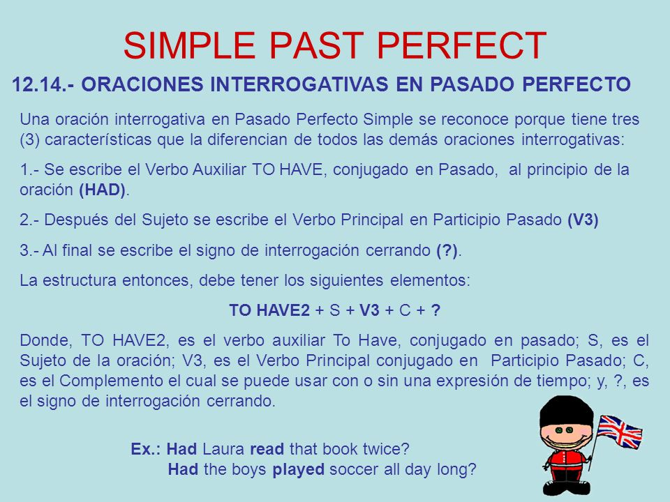 SIMPLE PAST PERFECT 12.14.- ORACIONES INTERROGATIVAS EN PASADO PERFECTO.