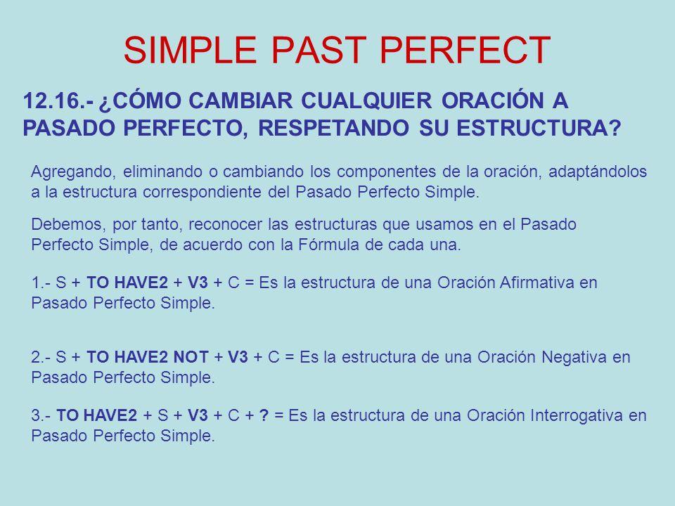 SIMPLE PAST PERFECT 12.16.- ¿CÓMO CAMBIAR CUALQUIER ORACIÓN A PASADO PERFECTO, RESPETANDO SU ESTRUCTURA