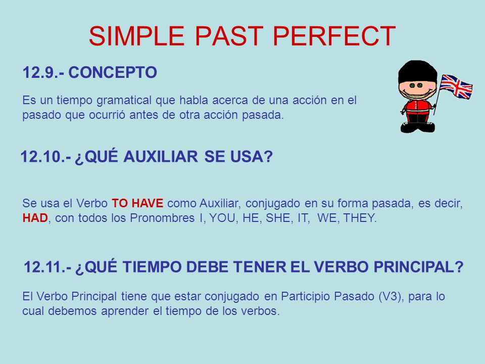 SIMPLE PAST PERFECT 12.9.- CONCEPTO 12.10.- ¿QUÉ AUXILIAR SE USA