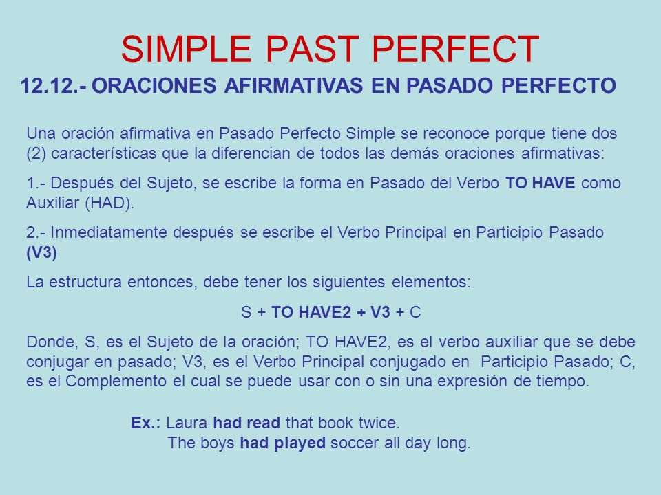 SIMPLE PAST PERFECT 12.12.- ORACIONES AFIRMATIVAS EN PASADO PERFECTO