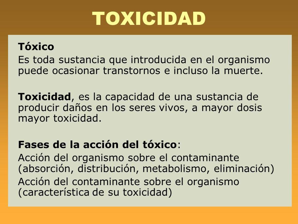 TOXICIDAD Tóxico. Es toda sustancia que introducida en el organismo puede ocasionar transtornos e incluso la muerte.