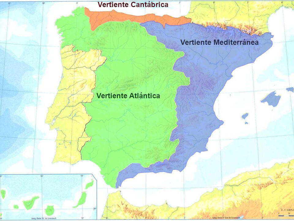 Vertiente Cantábrica Vertiente Mediterránea Vertiente Atlántica