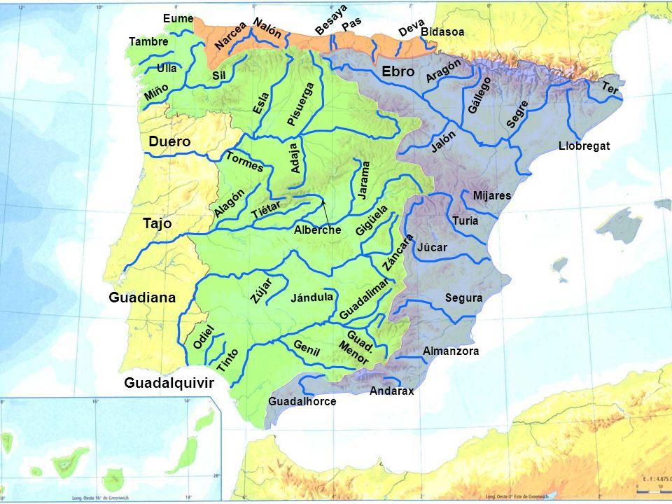 Ebro Duero Tajo Guadiana Guadalquivir Eume Sella Besaya Nervión Nalón