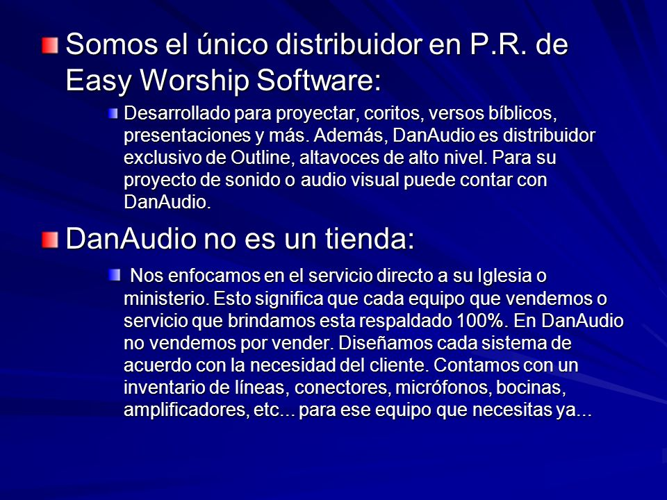 Somos el único distribuidor en P.R. de Easy Worship Software:
