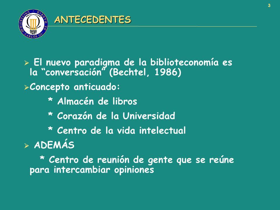ANTECEDENTES El nuevo paradigma de la biblioteconomía es la conversación (Bechtel, 1986) Concepto anticuado: