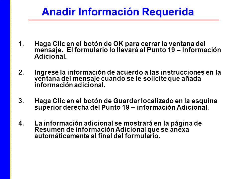 Anadir Información Requerida