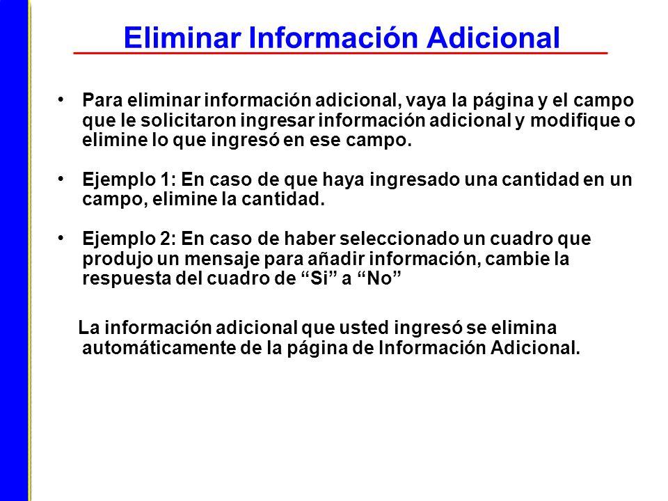 Eliminar Información Adicional