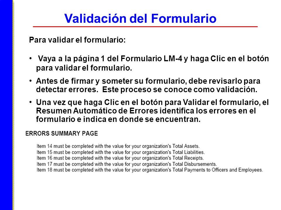Validación del Formulario