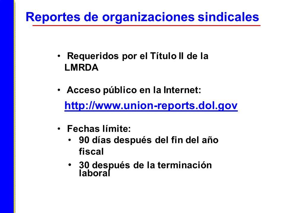 Reportes de organizaciones sindicales