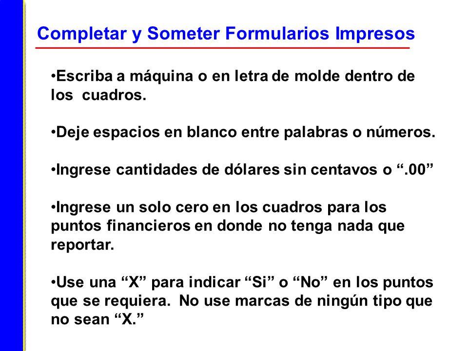 Completar y Someter Formularios Impresos