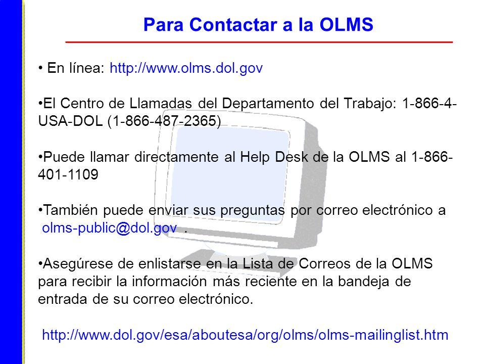Para Contactar a la OLMS