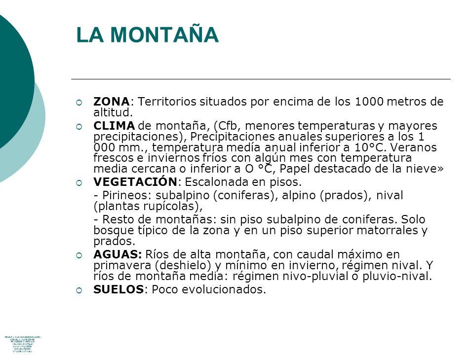 LA MONTAÑA ZONA: Territorios situados por encima de los 1000 metros de altitud.