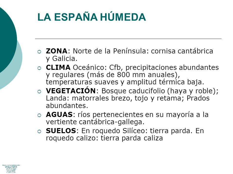 LA ESPAÑA HÚMEDA ZONA: Norte de la Península: cornisa cantábrica y Galicia.