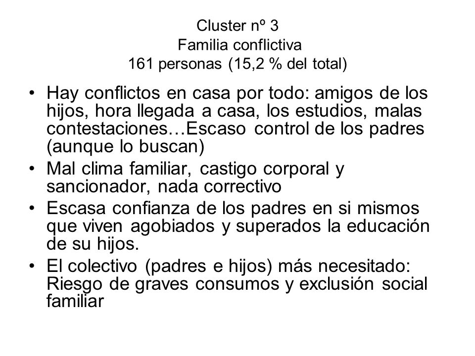 Cluster nº 3 Familia conflictiva 161 personas (15,2 % del total)