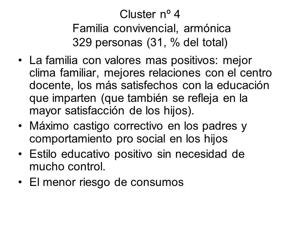 Cluster nº 4 Familia convivencial, armónica 329 personas (31, % del total)