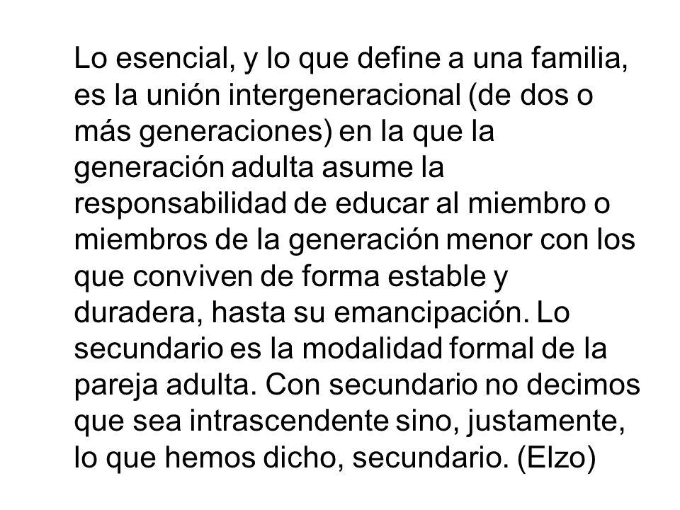 Lo esencial, y lo que define a una familia, es la unión intergeneracional (de dos o más generaciones) en la que la generación adulta asume la responsabilidad de educar al miembro o miembros de la generación menor con los que conviven de forma estable y duradera, hasta su emancipación.