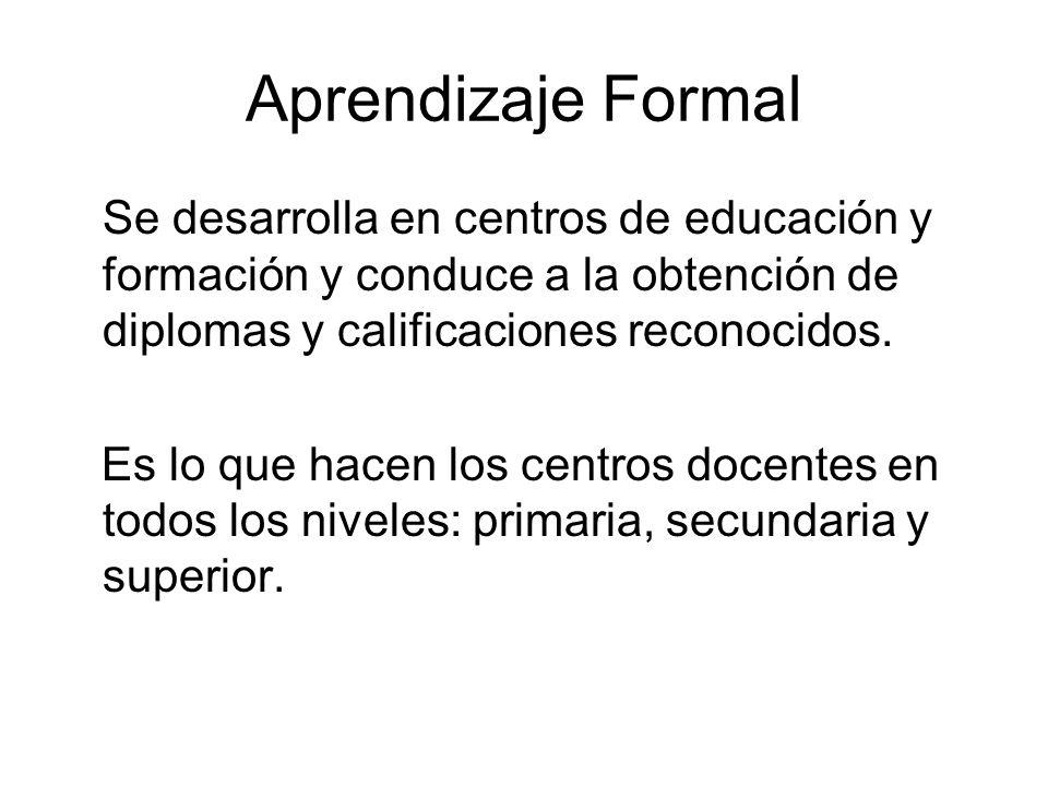 Aprendizaje Formal Se desarrolla en centros de educación y formación y conduce a la obtención de diplomas y calificaciones reconocidos.