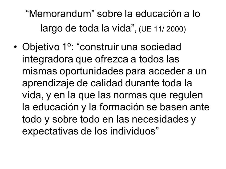 Memorandum sobre la educación a lo largo de toda la vida , (UE 11/ 2000)