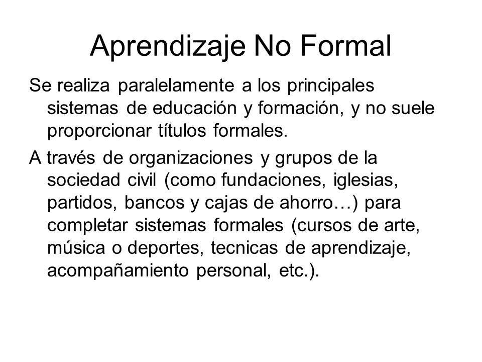 Aprendizaje No Formal Se realiza paralelamente a los principales sistemas de educación y formación, y no suele proporcionar títulos formales.