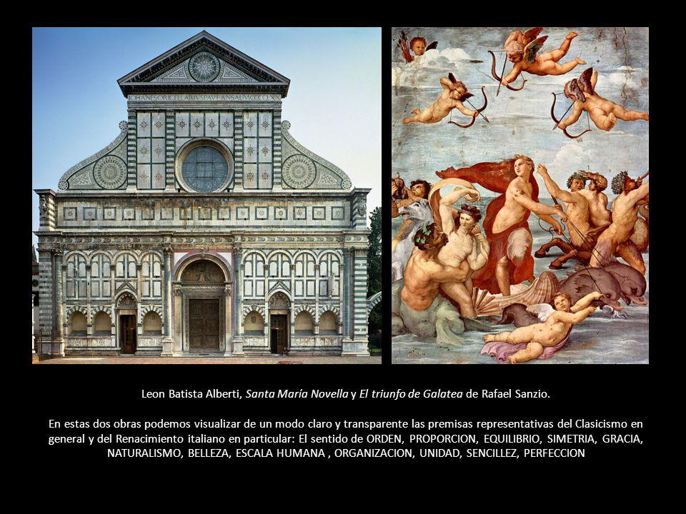 Leon Batista Alberti, Santa María Novella y El triunfo de Galatea de Rafael Sanzio.
