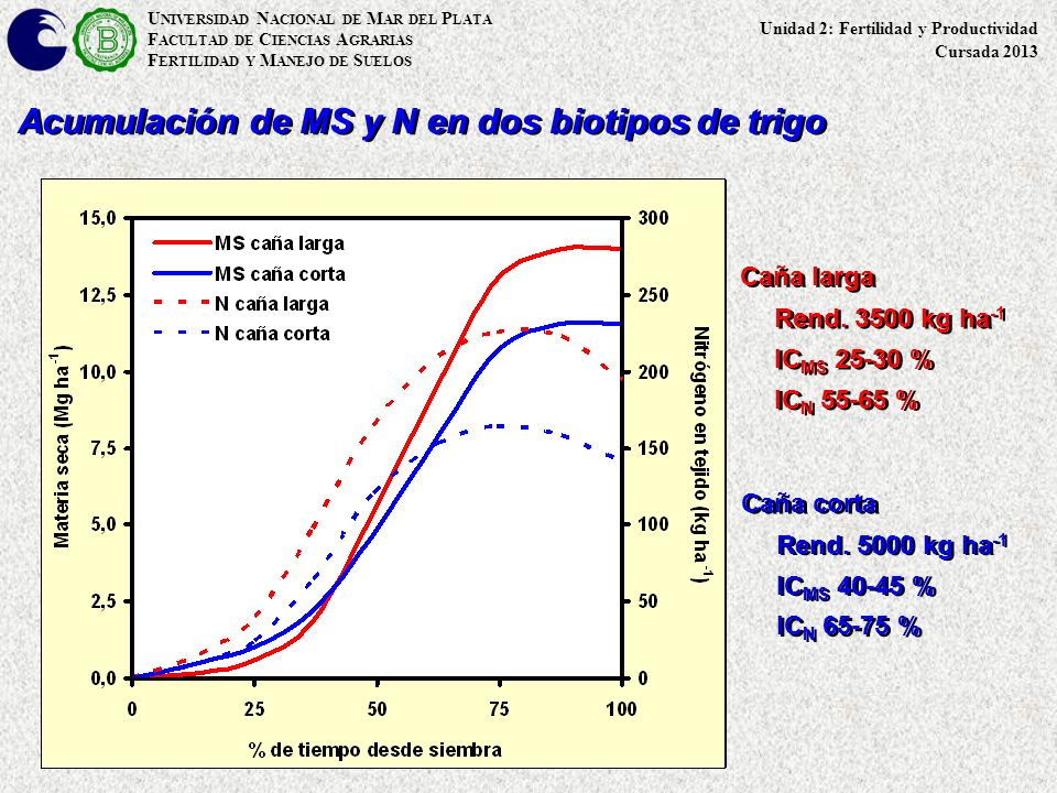 Acumulación de MS y N en dos biotipos de trigo