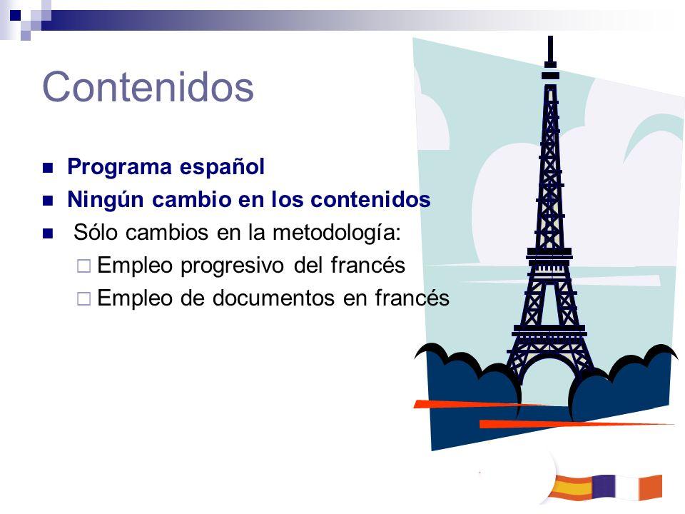 Contenidos Programa español Ningún cambio en los contenidos