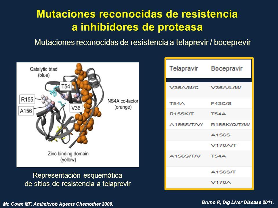 Mutaciones reconocidas de resistencia a inhibidores de proteasa