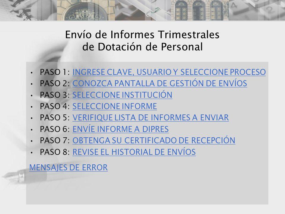 Envío de Informes Trimestrales de Dotación de Personal