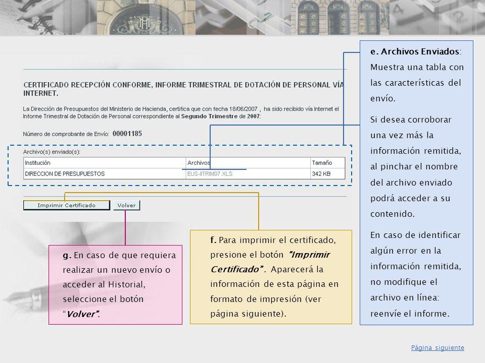 e. Archivos Enviados: Muestra una tabla con las características del envío.
