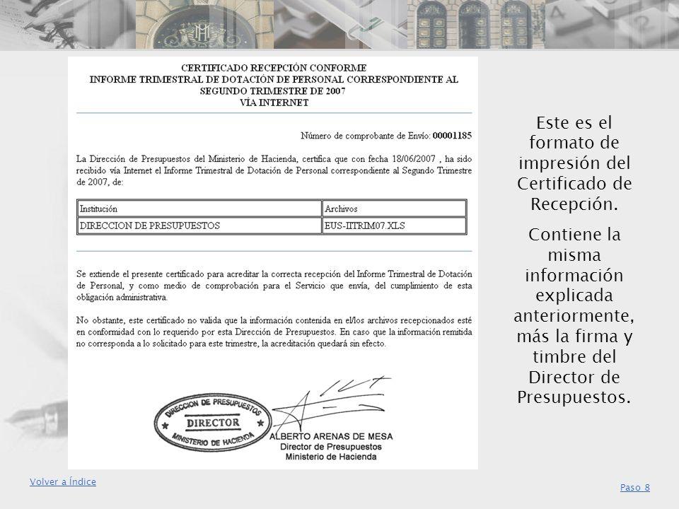 Este es el formato de impresión del Certificado de Recepción.