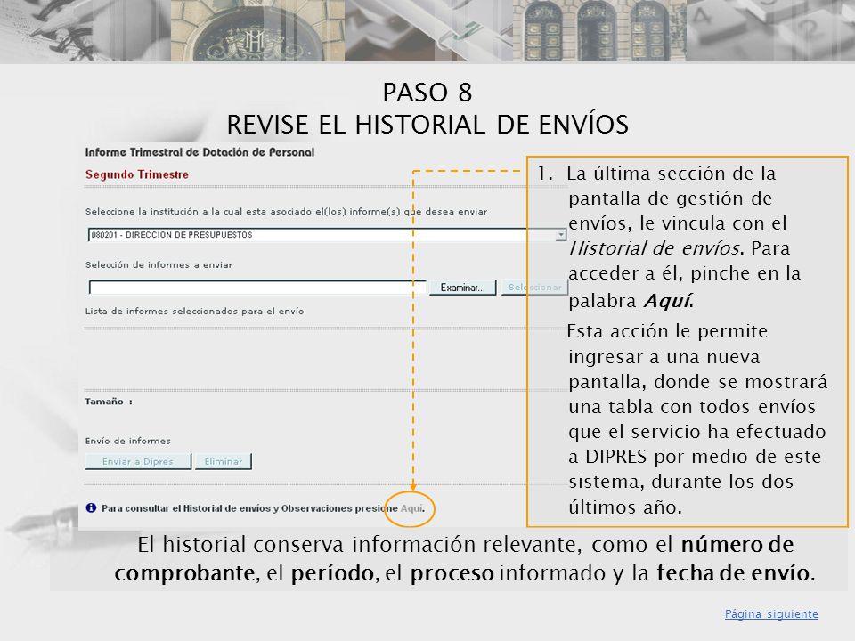 PASO 8 REVISE EL HISTORIAL DE ENVÍOS