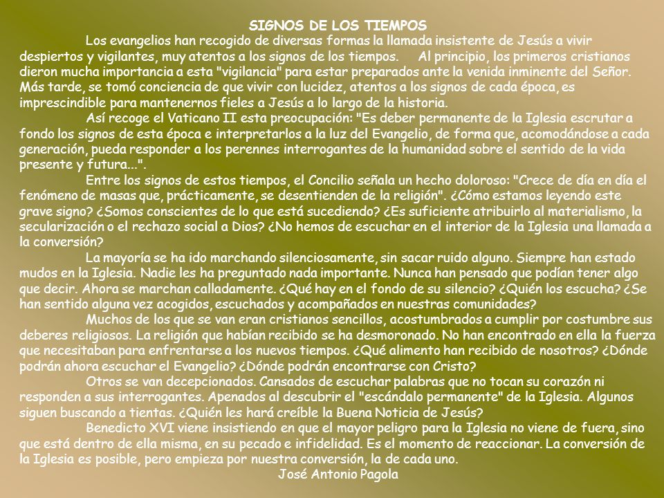 SIGNOS DE LOS TIEMPOS