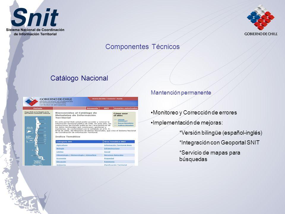 Componentes Técnicos Catálogo Nacional Mantención permanente