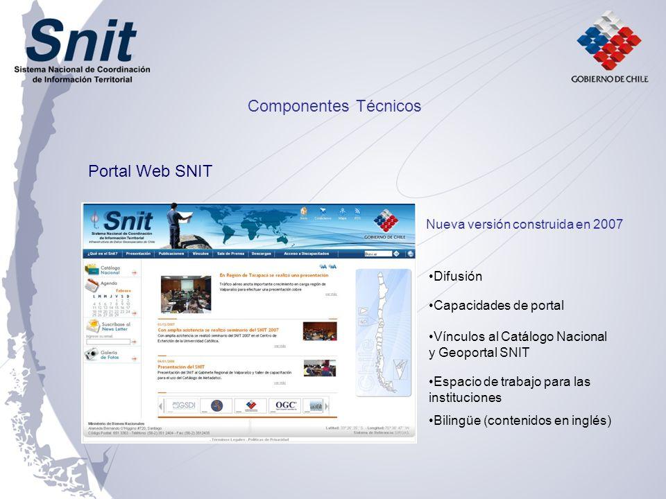Componentes Técnicos Portal Web SNIT Nueva versión construida en 2007