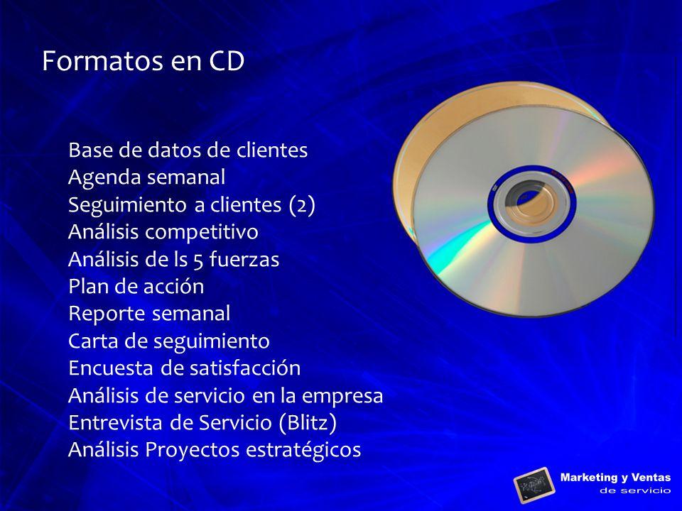 Formatos en CD Base de datos de clientes Agenda semanal