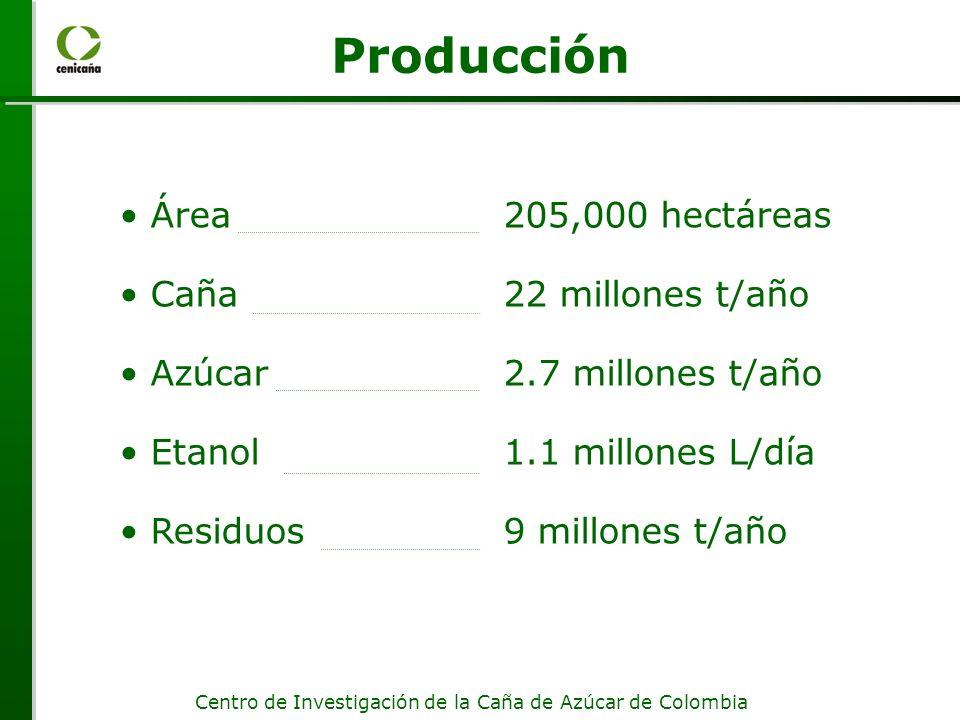Producción Área 205,000 hectáreas Caña 22 millones t/año