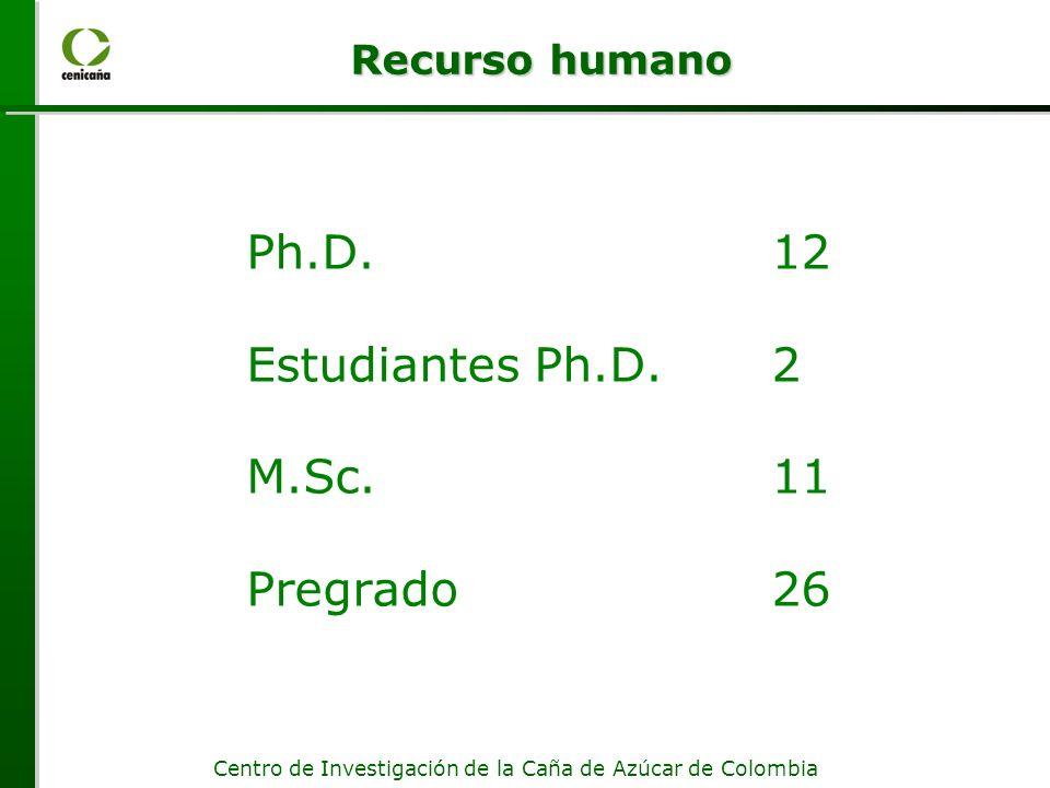 Ph.D. 12 Estudiantes Ph.D. 2 M.Sc. 11 Pregrado 26