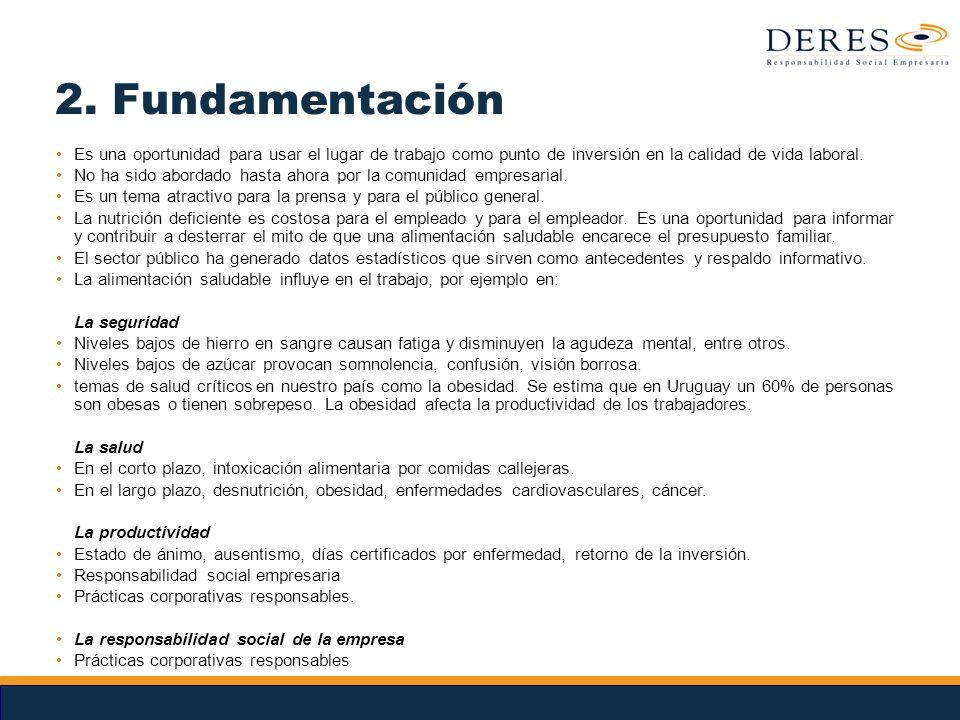 2. Fundamentación Es una oportunidad para usar el lugar de trabajo como punto de inversión en la calidad de vida laboral.