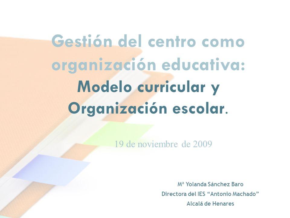Gestión del centro como organización educativa: