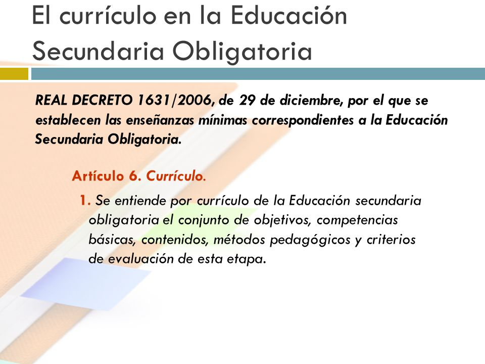 El currículo en la Educación Secundaria Obligatoria